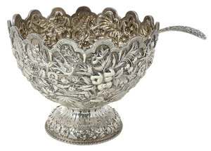 Silver Repousse Monteith Bowl, Ladle