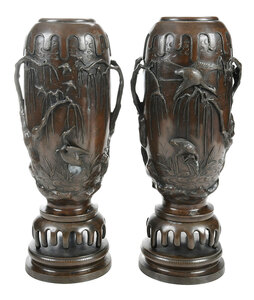 Pair Japanese Patinated Bronze Vases on Stands