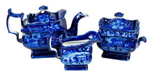 Three Piece Historical Blue Staffordshire Tea Set