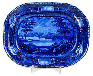 Historical Blue Staffordshire Platter, New York