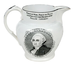 Washington Lafayette Liverpool Creamware Pitcher