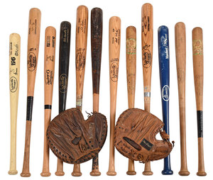 12 Assorted Wooden Baseball Bats and Two Gloves