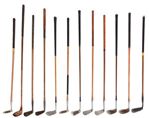 12 Wooden Shaft Golf Clubs