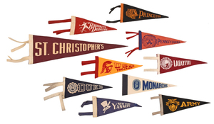 Ten Vintage Team Pennants