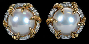 Valentin Magro 18kt. Pearl and Diamond Earclips