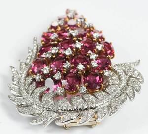 Platinum, 18kt. Diamond and Tourmaline Brooch