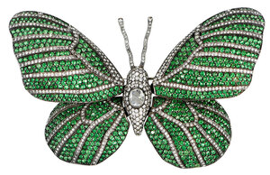 18kt. Diamond and Gemstone Butterfly Brooch