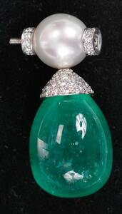 14kt. Emerald and diamond Pearl Clasp