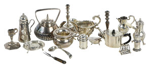 17 Miniature Silver Table Objects