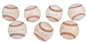 Seven Dodgers Pitchers Signed Baseballs