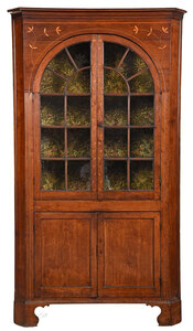 Sondley Family Rare Federal Inlaid Corner Cupboard