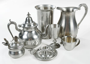 25 Assorted American Pewter Table Objects