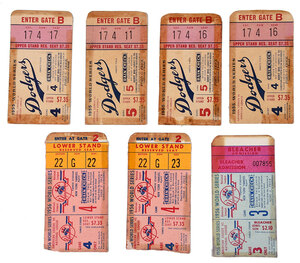 Seven World Series Tickets, 1955 and 1956
