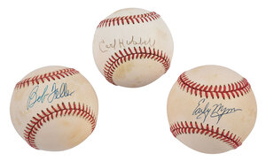 Three Hall of Fame Pitchers Signed Baseballs