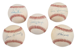 Five Yankees Signed Baseballs