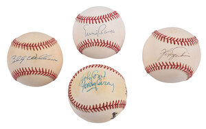 Four Chicago Cubs Signed Baseballs
