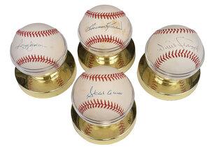 Four Sluggers Signed Baseballs