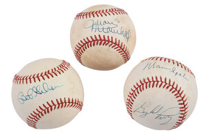 Three Premier Pitchers Signed Baseballs