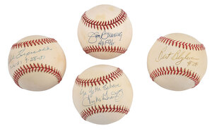 Four Pitchers Signed Baseballs, with Inscriptions
