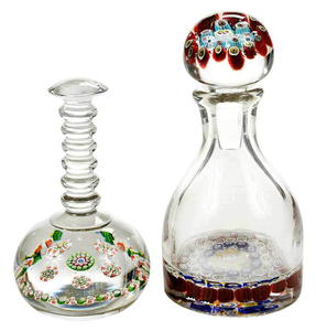 Pair of Glass Desk Items