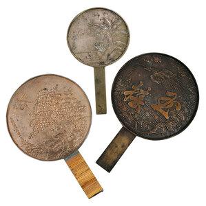 Three Japanese Bronze Hand Mirrors