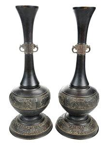 Pair of Japan Bronze Urn Form Candlesticks