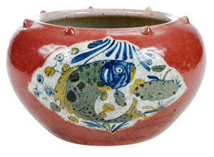A Chinese Red Glazed Pottery Fish Bowl