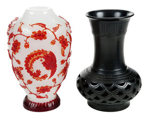 Chinese Peking Glass Vase and Art Pottery Vase