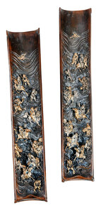 Pair of Chinese Patinated Bronze Wrist Rests