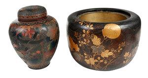 Japanese Carved Wood Hibachi and Cloisonne Jar