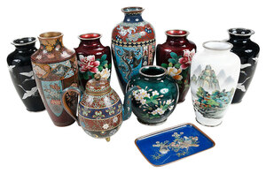 Ten Japanese Cloisonne Vessels