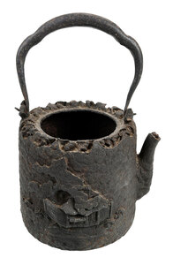 Japanese Iron Teapot with Relief Decoration