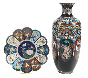 Japanese Cloisonne Vase and Plate