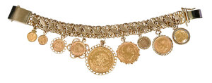 14kt. Bracelet with Gold Peso Charms