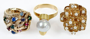 Three Gold Gemstone Rings