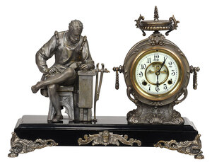 Gilt Bronze and Metal Figural Mantel Clock