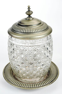 Cut Glass Covered Jar with Underplate