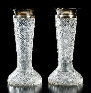 Pair Cut Glass Vases with Silver Rims