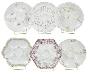 28 Porcelain Oyster Plates, Various Makers