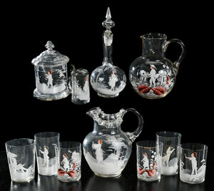 11 Pieces Mary Gregory Glass