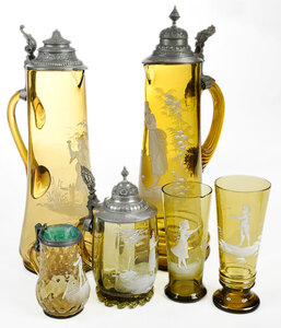 Six Pieces Mary Gregory Glass