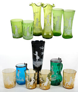 13 Assorted Pieces Mary Gregory Glass