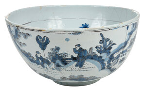Rare Early English Delftware Punch Bowl