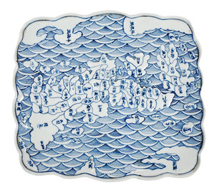 Japanese Arita Ware Blue and White Map Tray