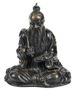 Chinese Patinated Bronze Daoshi Figure