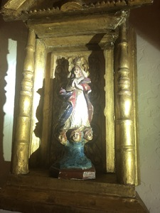 carved polychrome wood niche religious figure