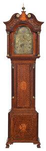 George III Inlaid Oak Tall Case Clock