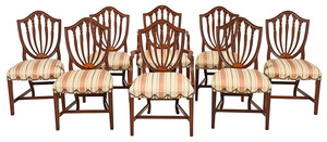 Set Eight Hepplewhite Style Mahogany Dining Chairs