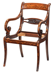 Regency Marquetry Inlaid Mahogany Open Armchair