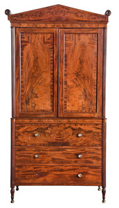 New York Federal Figured Mahogany Linen Press